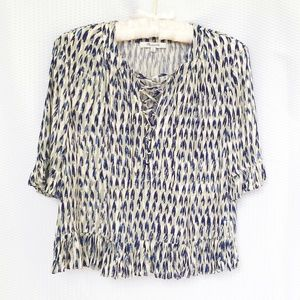 Madewell Pleated Lace-Up Top Feather Print